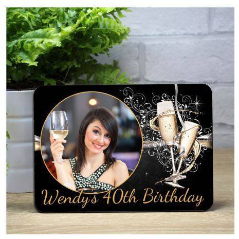 Personalised Black & Gold Happy Birthday Champagne Flutes Wood Photo Panel F13 - Any Age